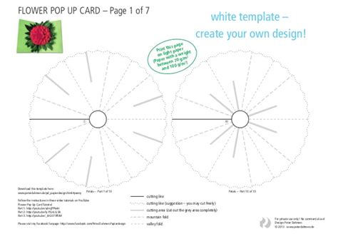 flower pop up card template color flower pop up card template white
