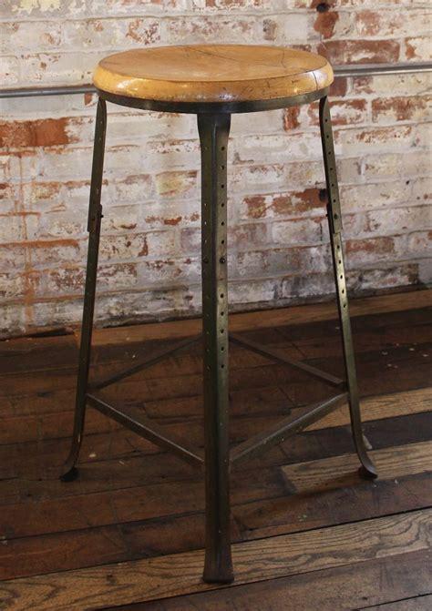 vintage wood and metal bar stools vintage industrial backless bar stool wood and metal