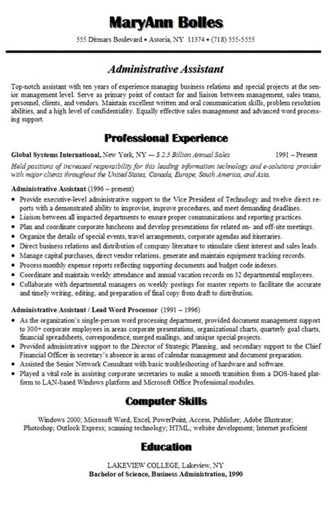 resume sle for administrative assistant position sle resume for administrative assistant in 2016