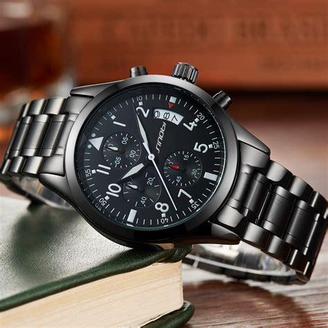 sinobi jam tangan pilot chrono pria  black