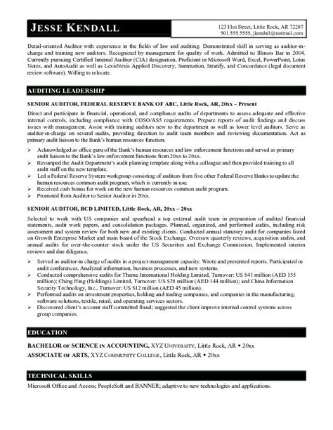 Auditor Resume Objective by Exle Senior Auditor Resume Free Sle