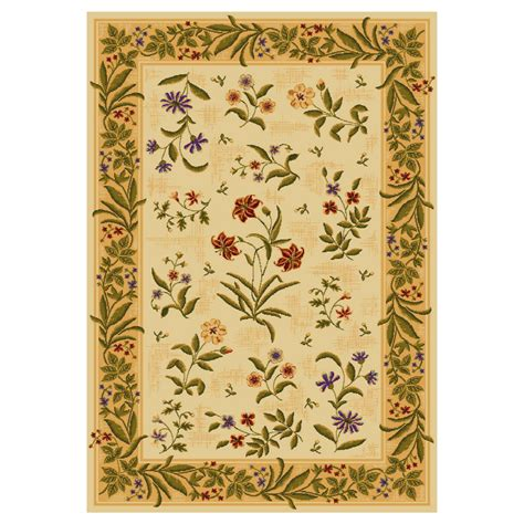 yellow floral rug shop shaw living summer flowers rectangular yellow floral tufted area rug common 4 ft x 6 ft