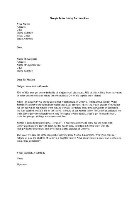 donation request letter school