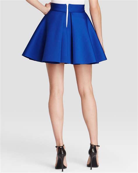 aqua skirt inverted pleat flared in blue lyst