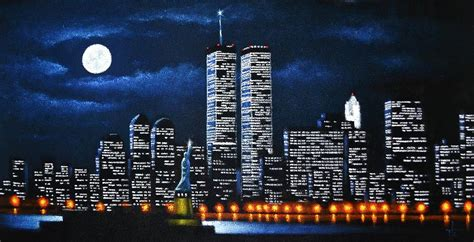 New York City Wall Mural world trade center buildings painting by thomas kolendra