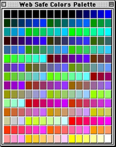 web safe colors palettes