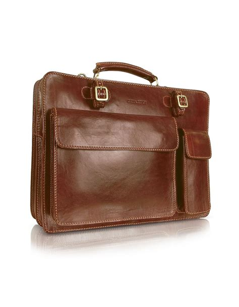 Leather Briefcase Handmade - chiarugi handmade brown genuine leather gusset