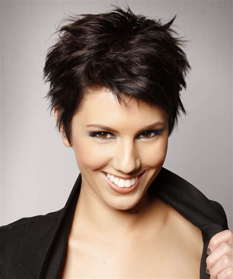 casual pixie hairstyles short straight casual pixie hairstyle dark brunette mocha