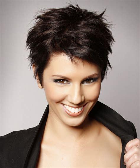 short haircuts for brunette women short straight casual pixie hairstyle dark brunette mocha