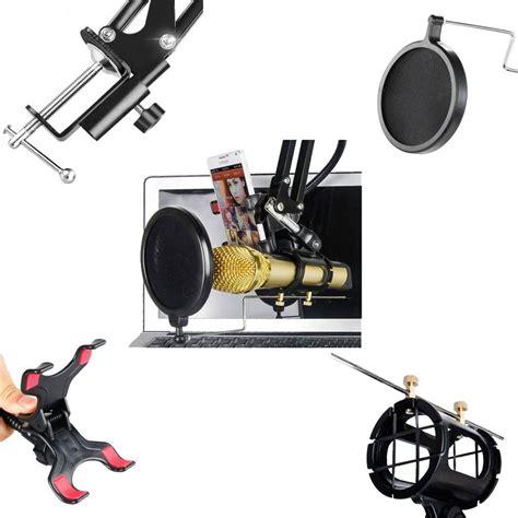 Promo Condenser Microphone Phone Stand Holder 360 Degree condenser microphone stand holder 360 lazypod with smartphone cl black jakartanotebook