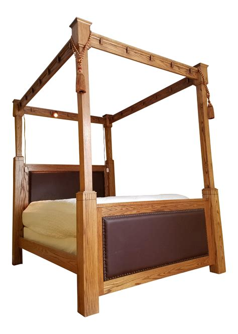 four poster bed frame custom made mission style cross cut oak size