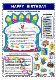 Answer To Happy Birthday Wishes English Worksheet Happy Birthday Vocabulary