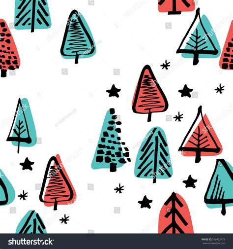 christmas tree pattern vector scandinavian seamless pattern christmas tree vector stock
