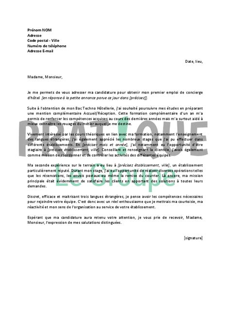 Lettre De Motivation Ecole Hotellerie Lettre De Motivation Hotellerie Le Dif En Questions