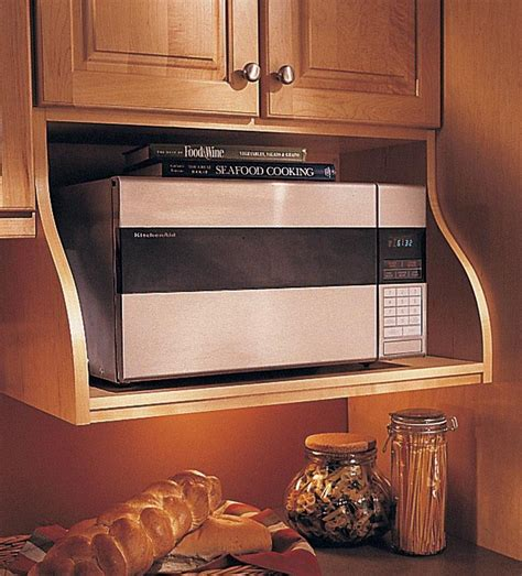 kitchen microwave cabinets storage solutions details wall microwave shelf