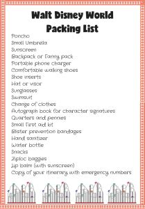 walt disney world packing list