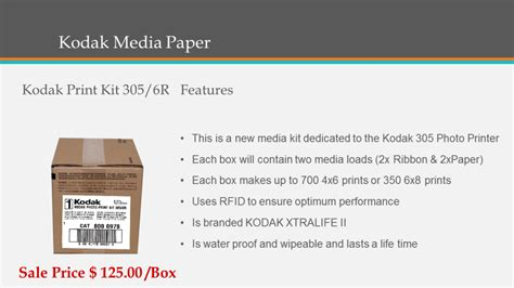 Kodak Photo Paper 305 kodak 305 photo printer