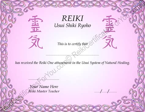 reiki certificate templates reiki certificates for you