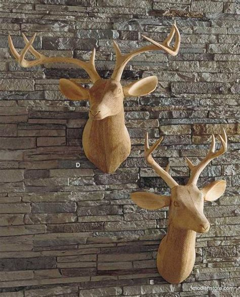 Roost Home Decor by Roost Carved Wood Deer Head Facing Right Deer Head