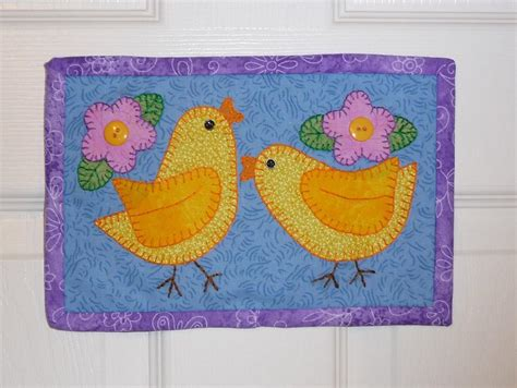 quilt pattern easter chick mug rug easter mini quilt by sher s patterns craftsy