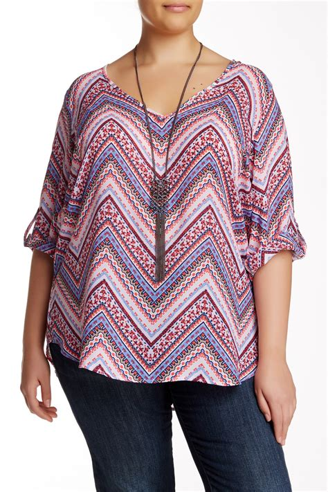 Neackless Chain Blouse want need printed blouse with chain link necklace plus size nordstrom rack