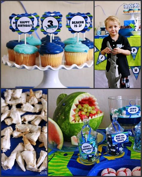 baby shark themed party kara s party ideas shark party with really fun idea via