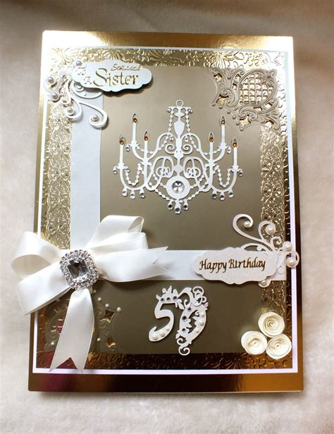 Handmade 50th Birthday Cards - bespoke luxury handmade 50th birthday card handmade