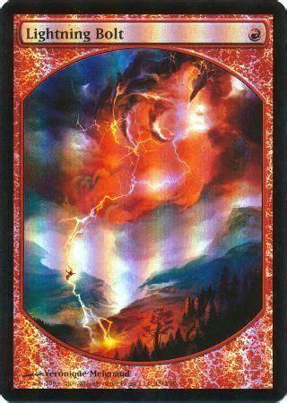 Magic Card Lightning Bolt Lightning Bolt Textless Foil Pl Mtg Promo Magic Ebay