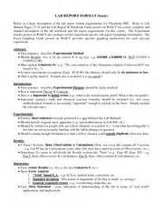 Basic Report Writing Course by Lab Report Format Lab Report Format Basic Below Is A
