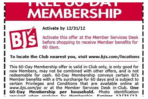 bj's coupon membership 2018