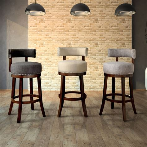 Contemporary Counter Height Swivel Bar Stools by Furniture Of America Fendeson Contemporary Fabric Nailhead