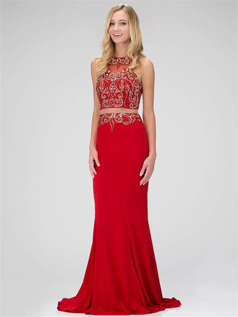 Mock Two Floral Dress mock two embellished prom dress with sung