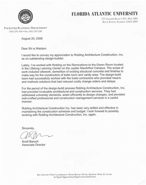 Recommendation Letter Architecture Accountability Robling Architecture Construction Inc
