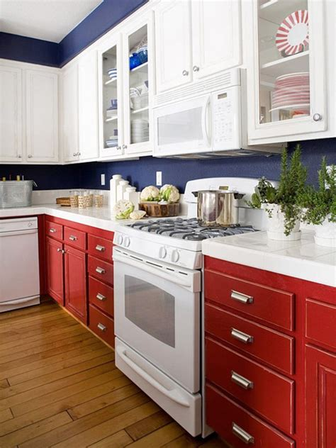 white and blue combinated kitchen designs