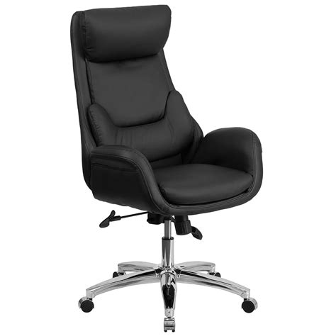 swivel office chairs high back black leather executive swivel office chair with
