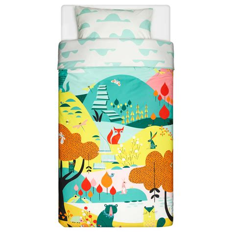ikea childrens comforter lattjo quilt cover and pillowcase garden multicolour