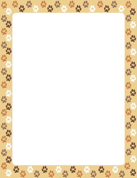puppy frames a border featuring paw prints on a background free downloads at http