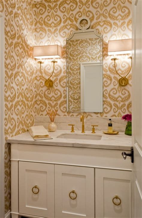 grasscloth wallpaper in bathroom bath with gold accents and ikat grasscloth wallpaper