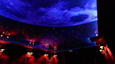 nigh sky moon and printed ceiling with led and fiber