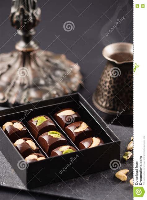 Luxury Handmade Chocolates - luxury handmade chocolate candies with nuts in gift box