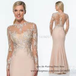 Muslim Wedding Party Aliexpress Com Buy Sell Long Sleeve Muslim Evening Dress Lace Beaded Champagne See Through
