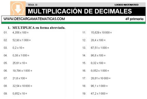 ejercicios de fracciones de cuarto de primaria descargar multiplicacion de decimales matematica cuarto
