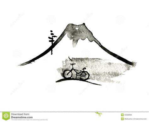 Fuji Bike Graphic 1 mountain fuji and bike japanese vector stock vector