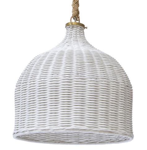 Wicker Pendant Light White Wicker Coastal Cottage Hanging Rope Pendant Kathy