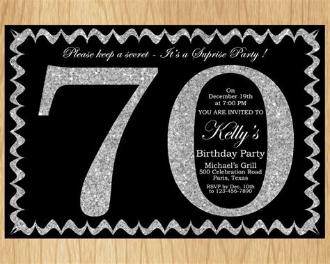 70 birthday invitation template 70th birthday invitation silver glitter birthday invite