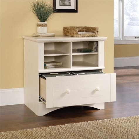 white wood lateral file cabinet 1 drawer lateral wood file cabinet in antique white 158002