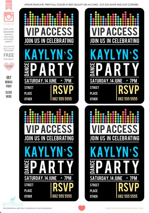 Diy Free Vip Party Invite Template Party All The Time Pinterest Posts Fonts And The O Jays Vip Birthday Invitations Templates Free