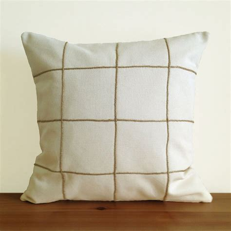 grid pattern canvas grid pattern cotton duck canvas and brown twine pillow cover