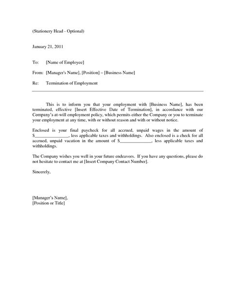 employee termination letter formal employee termination notice template sle vatansun