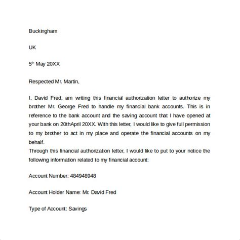 authorization letter for using bank account 10 bank authorization letter sle templates